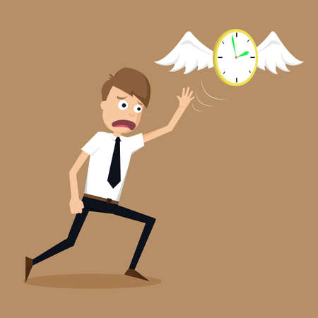 run away: clock with wings fly escape away  from a businessman.vector