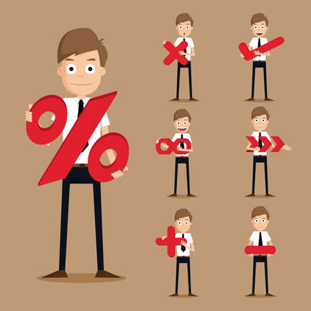 okey: Set of businessman characters symbol.vector Illustration