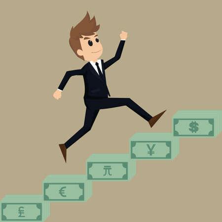 conquest: Businessman runs up a stairway money.vector Illustration
