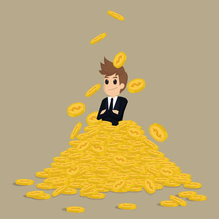 ingenuity: Successful businessman on gold stack coins.vector Illustration