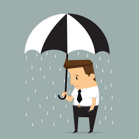 unfortunate: Unlucky businessman being wet from raining instead he holding umbrella, misfortune or in trouble concept.vector
