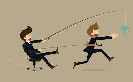 spoof: Stressed greedy businessman running after money, vector cartoon.vector