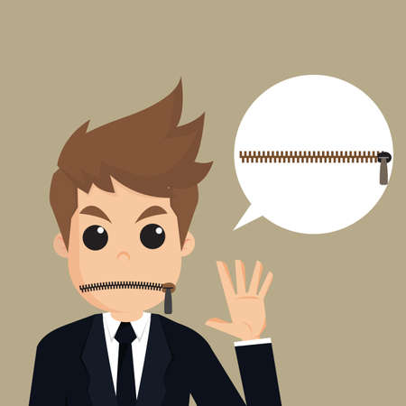 disallow: Businessman zipped his mouth and idea.vector