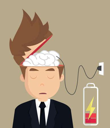 장 전기: businessman brain charger .vector