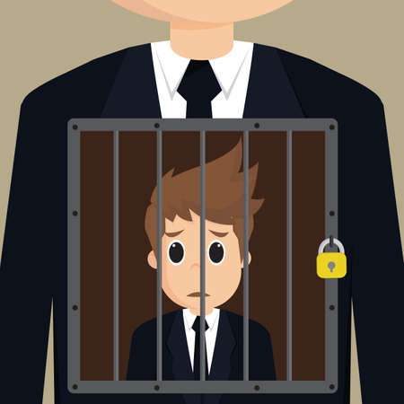 confined: Business man confined himself.vector