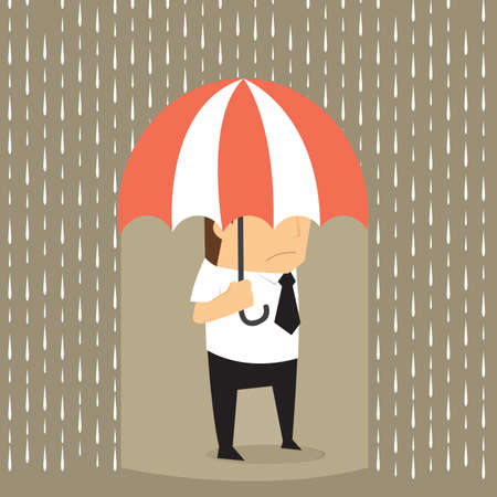 rain cartoon: Unlucky businessman being wet from raining instead he holding umbrella, misfortune.vector Illustration
