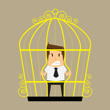awkward: businessman break the cage.vector