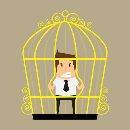 awkward: empresario romper el cage.vector