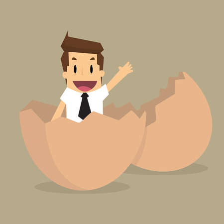 inexperienced: New Businessman on egg.vector Illustration