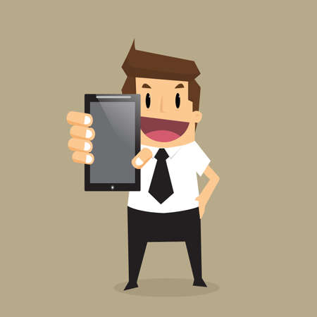 telephone cartoon: Business man show smart phone.vector Illustration