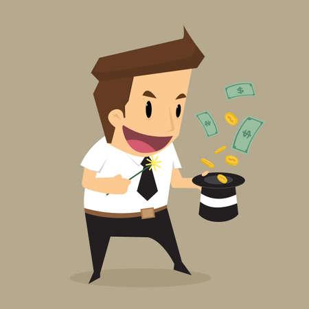 money flying: Empresario dinero volando fuera de la hat.vector magia