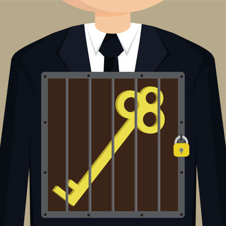 confined: Business man confined key.vector