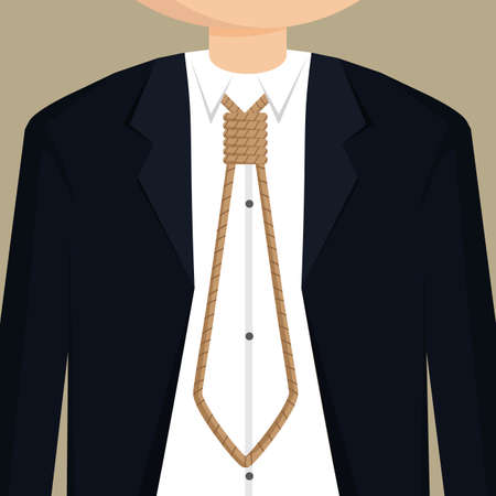 stupid body: businessman necktie with rope.vector Illustration