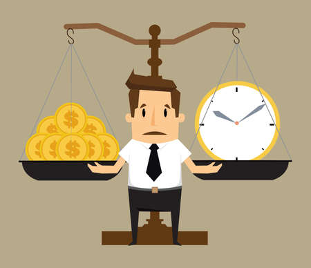 money making: Balancing Time and Money.vector
