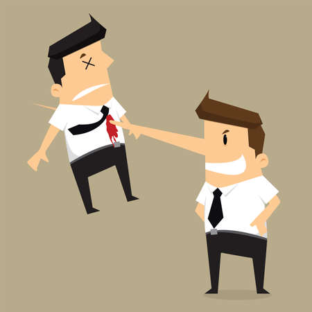 kill colleague the end of businessman Illustration