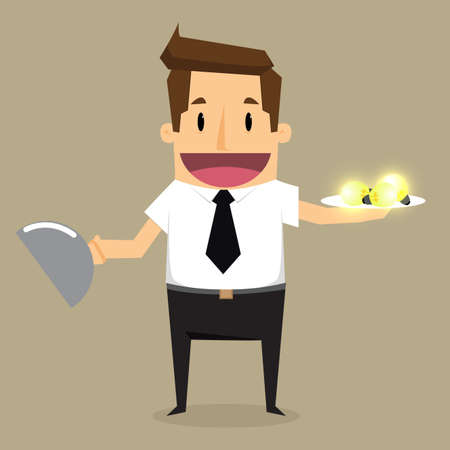 food absorption: Businessman eat electrical bulb, symbol of idea Illustration