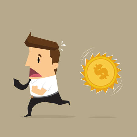 financial obstacle: Businessman running Money attack.vector