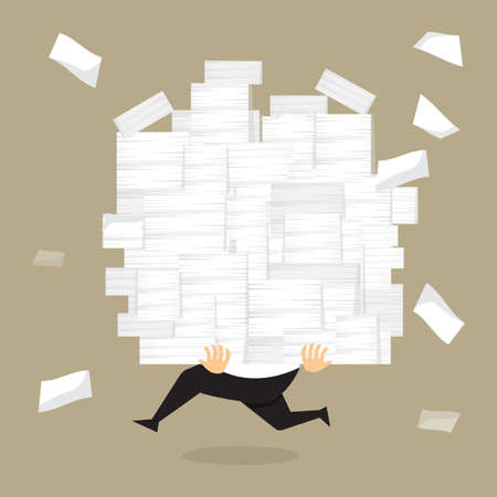 stack of documents: Businessman run holding a lot of documents in his hands.vector