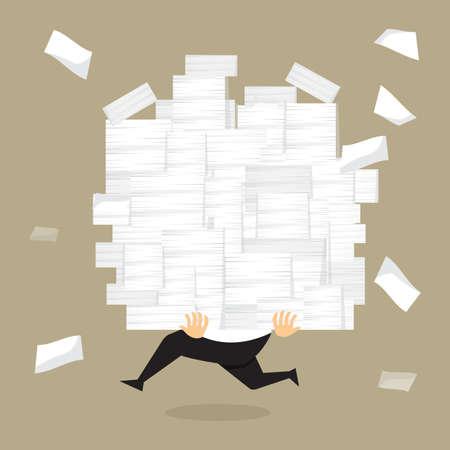 Businessman terme tenant un grand nombre de documents dans son hands.vector