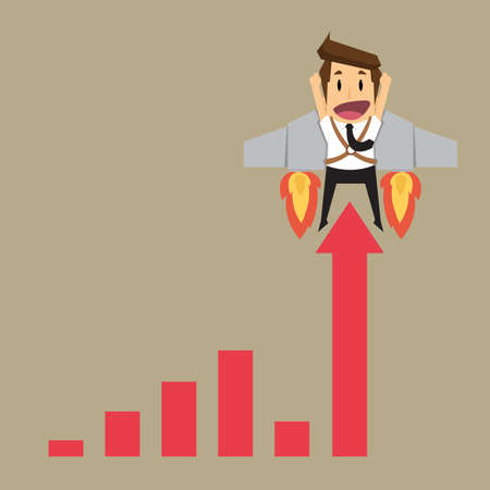fling: businessman with graph fling up. vector