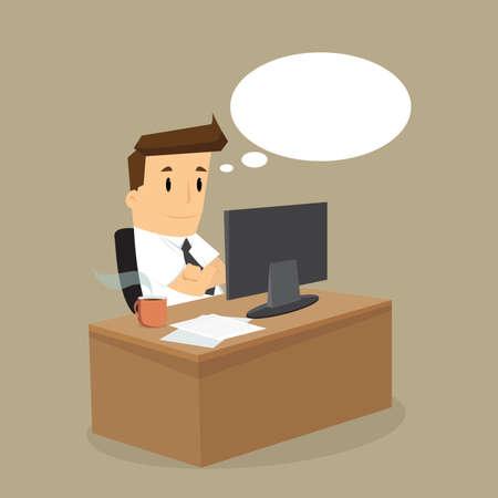 Uomo d'affari che lavora duro sul suo desk.vector Archivio Fotografico - 40245386