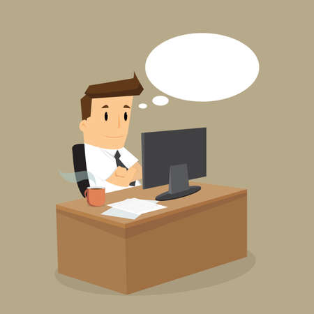 hard working man: working hard business man on his desk.vector Illustration