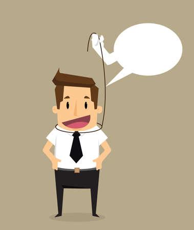 self control: businessman self control idea.vector Illustration