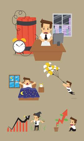 wake up happy: Set,Businessman Character.vector