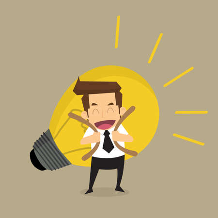 bright ideas: Businessman carry idea.vector
