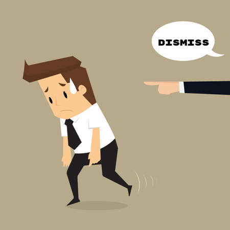 dismiss: Employees getting fired by boss.vector Illustration