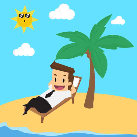and barefoot: businessman on vacation.vector