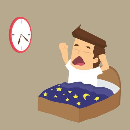 sleeping: Businessman wake up early.vector