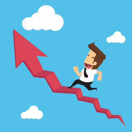 stair: hombre de negocios de ejecuci�n en la escalera arrow.vector roja
