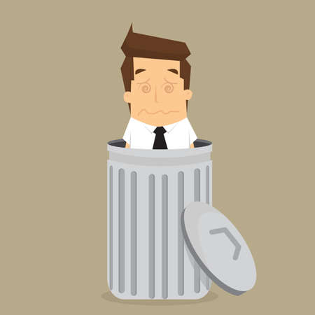lay down: businessman dropped into trash. vector