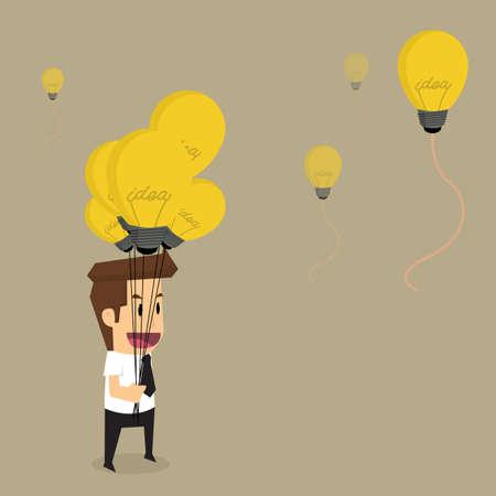 shortcuts: businessman with idea bulb balloon.vector