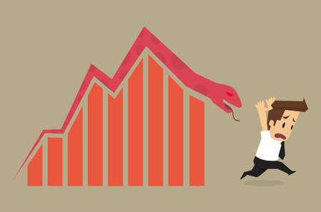 fail: businessman fail. arrow snake.vector Illustration