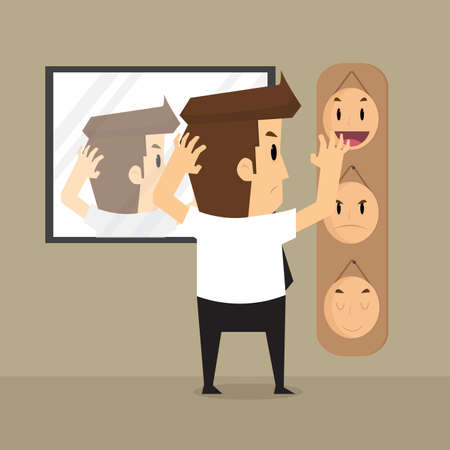 hypocrite: businessman  select mask in work a day.vector
