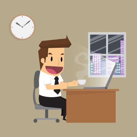 working hard: businessman working hard night in office.vector