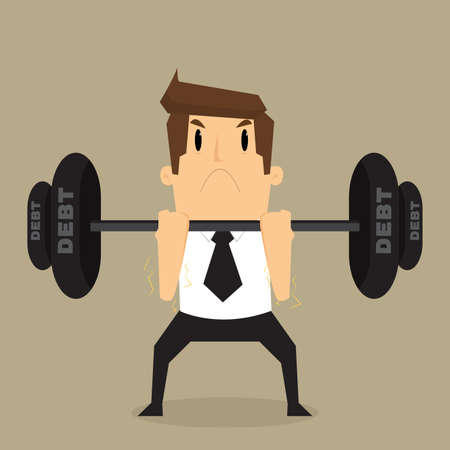 heavy: businessman lifting heavy weight debt.vector