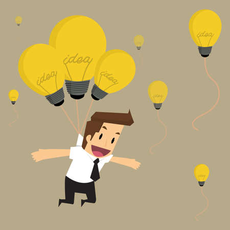important people: businessman fly with idea bulb balloon.vector