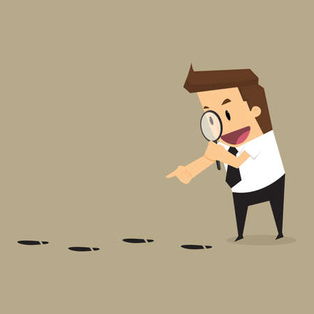 Businessman walking with magnifying glass, looking for foot mark track on the ground.vector