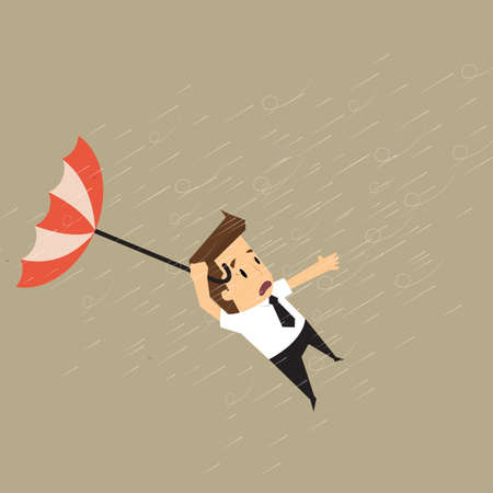 idea hurdle: businessman holding a blow umbrella in the middle of a rainstorm.vector