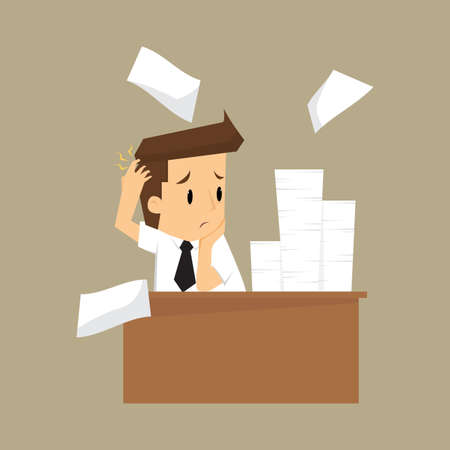 despondent: Businessman and a lot of documents.vector
