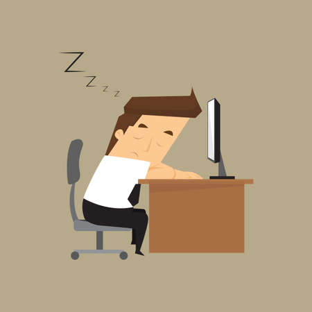 overworked: Tired overworked businessman sleeps on desk.vector Illustration