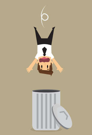 lay down: businessman dropped into trashcan.vector