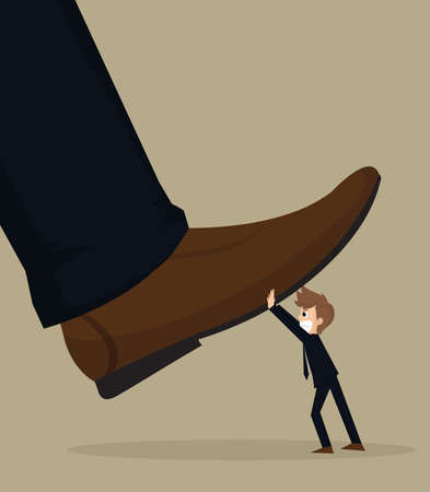 oppressive: illustration of cartoon businessman carry stomping foot in oppressive concept.vector Illustration