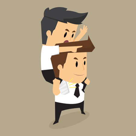 scold: Injured colleague riding on businessman , eps10 vector format Illustration