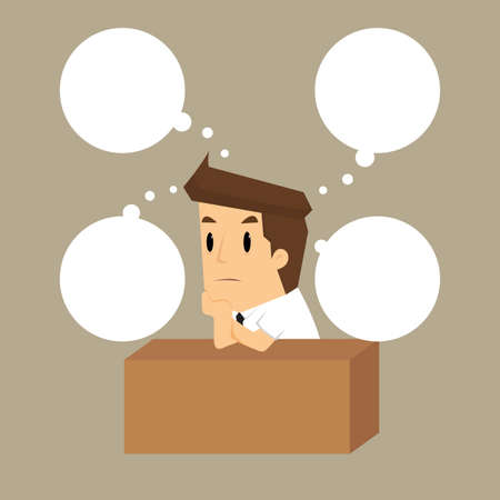 working hard business man on his desk.vector Illustration