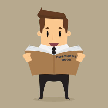 cartoon businessman learn and reading a book.vector Illustration