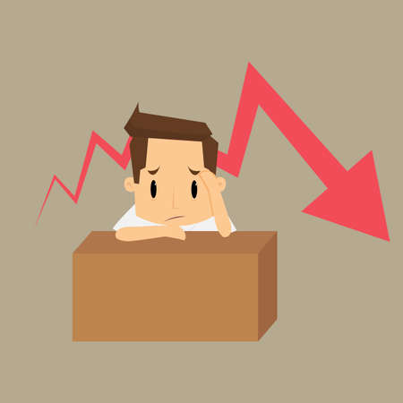 strain: Business failure. Young worried businessman thinking about business graph with negative trend.vector